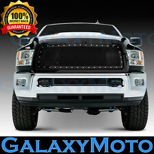 13-17 RAM Trucks 2500+3500+HD Front Hood Black Mesh Grille+Rivet Studded+Shell