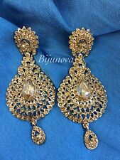 Indian Bollywood Gold Crystal Style Drop Down Dangle Chandelier Earrings Bridal