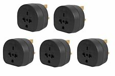 5x Pack of All Continents Worldwide to UK Travel Plug Power Mains Adaptor Black