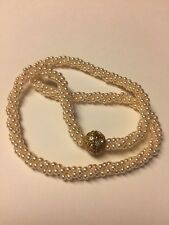 "Grandmas Estate Cream Faux 3 Strand Pearls Magnetic Closure 16"" Necklace 11/11"