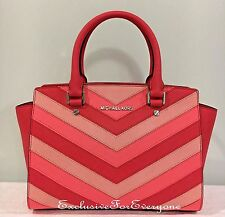 NWT Michael Kors Selma Leather Chevron Top Zip Medium Satchel Bag Coral $348