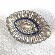 Antique Georgian Large Eye Brooch Sapphire Glass & Black Dot Paste Jewels
