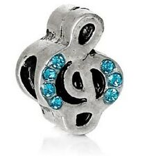 SILVER MUSICAL NOTE TREBLE CLEF BLUE CRYSTAL CHARM BEAD