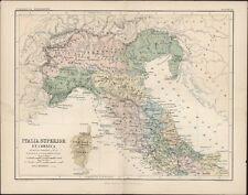 1870 Johnston Antique Map of Northern Italy & Corsica