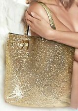 NEW VICTORIA'S SECRET SPARKLY GOLD SEQUIN TOTE BEACH BAG PURSE SHOPPER TRAVEL