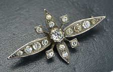 Victorian Antique STERLING SILVER & Sparkly White Paste Flower Starburst BROOCH