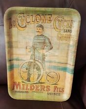 """Vintage 19"""" Le Cyclone Cycle Sans Chaine Milders Fils Woven Bamboo Tray Display"""