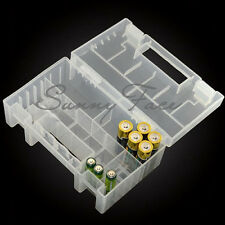 AAA AA C  9V 18650 Battery Storage Case Holder Hard Plastic Box Organiser White