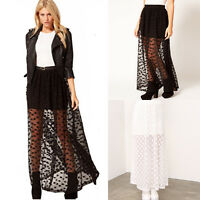 Sexy Women Casual Party Double Layer Lace Long Maxi Dress Elastic Waist Skirt