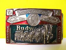 1982 ENAMELED SERIAL # H820 Belt Buckle Bud GENUINE Budweiser CLYDESDALES