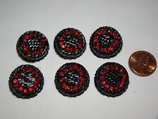 Vintage Lot of 6 Black Metal with Red Rhinestones Buttons 7/8""