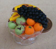 1:12 Handmade Mixed Fruit In A Raised Glass Bowl Dolls House Miniature Food ap