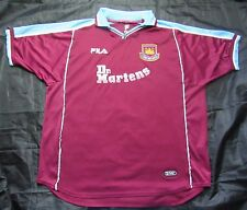 WEST HAM United Hammers Home Shirt Jersey FILA 1999/2000 Dr Martens WHU Size XXL