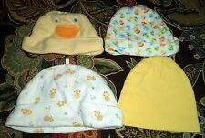 4 Hat Lot of Yellow & Print Unisex Hat for Infants 0-3 Months Carters & More