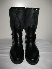 Stuart Weitzman  Faux Fur Side Buckle Black Rain Boots Shoes Size 37 / 6.5