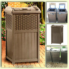 Outdoor Trash Hideaway Resin Wicker Patio Garden Garbage Waste Bin Can Basket