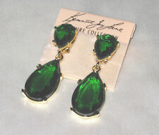 Kenneth Jay Lane Emerald Crystal Teardrop Pierced Earring In Gold-Tone  NEW!
