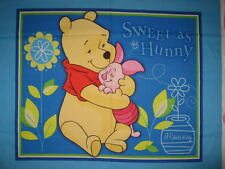 Sweet as Honey Panel - Winnie the Pooh   - Cot Quilt Craft Panel - Cotton Fabic