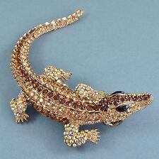Vintage Style Lizard Brooch Pendant Very Large Amber Crystal Goldtone Jewellery