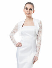 New Wedding Satin Bolero Bridal Shrug Jacket - Lace Long Sleeve Top S M L XL