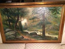"""Huge Antique R.N Siegrist? """"Forest Landscape Scene"""" Oil Painting -Signed/Framed"""