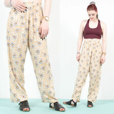 VINTAGE 90'S GRUNGE FLORAL PATTERN HIGH WAIST LOOSE FIT FESTIVAL TROUSERS 10
