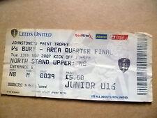 Ticket- Johnstone's Paint Trophy QUARTER FINAL- LEEDS UNITED v BURY, 13 Nov 2007