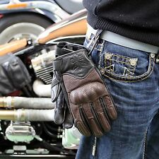Leather Motorcycle Gloves Carbon Knuckle Protection Black/Brown XXL & Carabiner