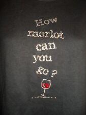 Christine Alexander S Top Shirt Rhinestone Crystal Black Merlot Wine Silver Red