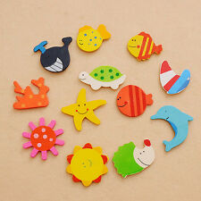 12PCS Lots Baby Kid Wooden Magnet Educational Toy Kitchen Fridge Cartoon Gift FT