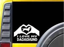 Dachshund Hands Heart Sticker k012 8 inch dog decal