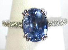 CERTIFIED NATURAL Blue Sapphire Ring 2.54ct 14K White gold FREE Appraisal $3,788