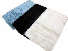 Super Soft Faux Fur Rug Wooden Tiled Flooring Non Slip Cream Teal Brown 2 Sizes