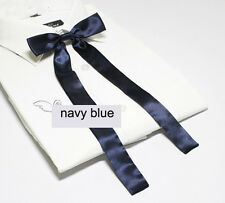Women Girl Sailor School Pre-tied Satin Thin Bowtie Bow Neck Tie Navy blue