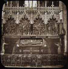 Glass Magic Lantern Slide AMIENS CATHEDRAL CARVED SCREEN C1890 PHOTO FRANCE