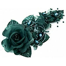 "3 hunter green Silk Pearl & organza flower  Corsages 5""x 2.5 with pearl pin"