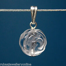 10mm GENUINE ROCK-CRYSTAL CARVED ROSE BEAD / BALL 925 STERLING SILVER PENDANT