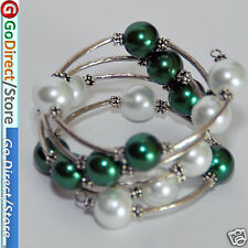 7.5 Inches Green & White 12mm Shell Beads fashion Bangle Wrap Bracelet