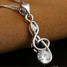Damen Schmuck Halskette Musik-Anhänger Weiß Zircon Plating Platinum in Silber