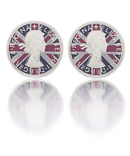 New Paul Smith Cufflinks Coin Queen Elizabeth Union Jack Red Blue White