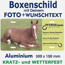 Pferd Boxenschild Stalltafel Aluschild mit eigenem Foto und Wunschtext