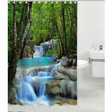 Waterfalls Nature Shower Curtain Bathroom Waterproof Fabric Screen + Hooks