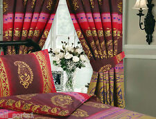 "KASHMIR WINE BURGUNDY GOLD 66"" X 72"" PENCIL PLEAT CURTAINS MIDDLE EASTERN ETHNIC"