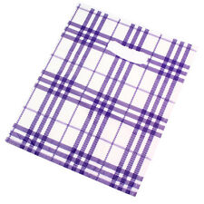 100pcs Durable Purple&White Grid Plastic Carrier Bags Fit Packages Wholesale D