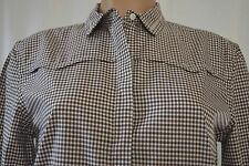 BRUNELLO CUCINELLI BROWN CHECKED LONG SLEEVES  APPLIQUE SIZE XL