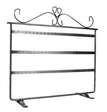 Earring Jewelry Holder Stand Display Brushed Silver Metal Holds 36 Pairs