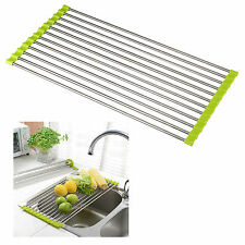 Roll-Up Kitchen Dish Drying Rack Stainless Steel Colander Dish Dishes Counter