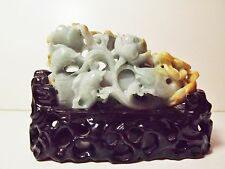 BEAUTIFUL CHINA HAND CARVED JADEITE JADE FISHES,CRAB AND FLORAL SEAWEED STATUE