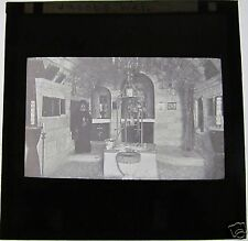 Glass Magic Lantern Slide JACOBS WELL WITH PRIEST C1910 ISRAEL