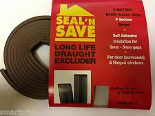 5M FOAM DRAUGHT EXCLUDER WEATHER SEAL STRIP INSULATION DOOR WINDOW P SHAPE BROWN